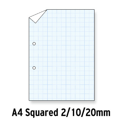 Loose Leaf Paper Blue Squared 2, 10, 20Mm Graph 2 Hole Punched A4 Ream