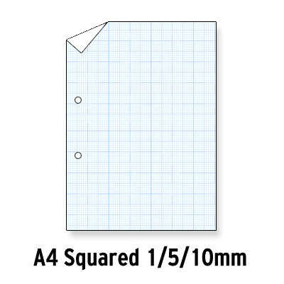 Loose Leaf Paper Blue Squared 1, 5, 10 Graph 2 Hole Punched A4 Ream