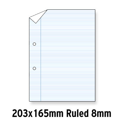 """Loose Leaf Paper Grey Lined  8 X 6.5"""" 8Mm Ruled 2 Hole Punched"""