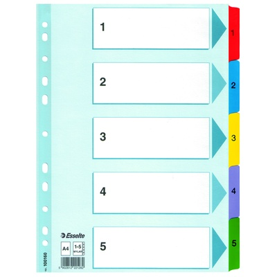 Divider, Index, Reinforced, Numbered 1-5, A4, Set
