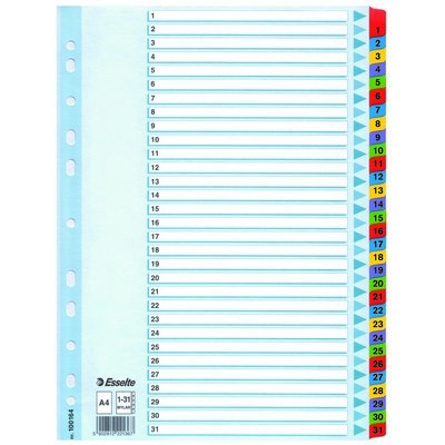 Divider, Index, Reinforced, Numbered 1-31, A4, Set