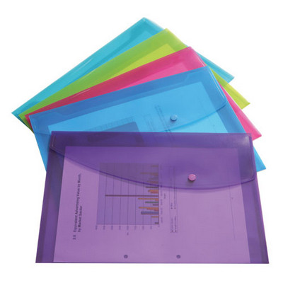 Popper Wallets, Bright Colours, Foolscap, Pack 5