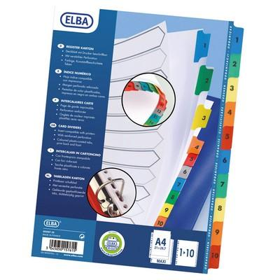 Elba Sprint Extra Wide Print Dividers Numbered & Coloured Set