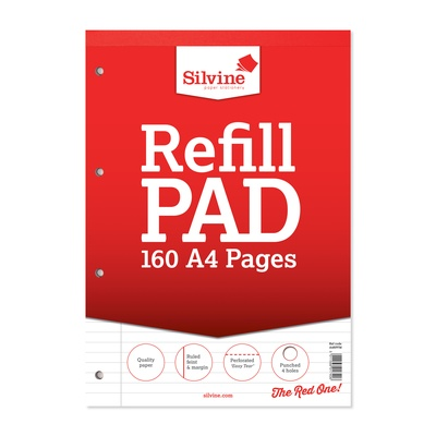 Refill Pad, 8mm + Margin, 80 Leaf, A4, Pk 6