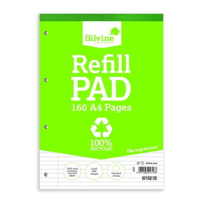 Silvine Refill Pad Recycled A4