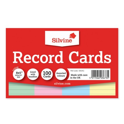 Revision/Record Cards 203 X 127Mm Assorted Pack 100