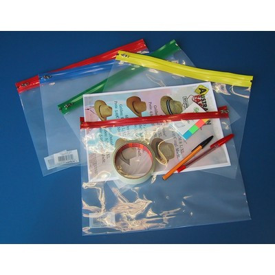 Zipped Bags, Assorted Colours, A4, Pack 25