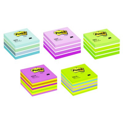 Post It Note Cubes 76 X 76Mm Mixed Neon Colours Each