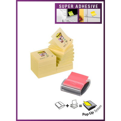 Post It Note Dispenser With 16 Canary Yellow Note Pads