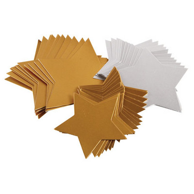Gold & Silver Card Stars, 3 sizes, Pk 50
