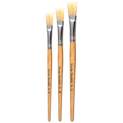 Assorted Hog Short Flat Brushes Natural Pack 30
