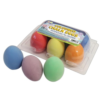 Chalk, Egg Shape Fun, Assorted Colours, Pack 6
