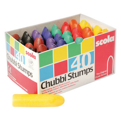 Crayons, Wax Chubby Assorted Colours Pk40