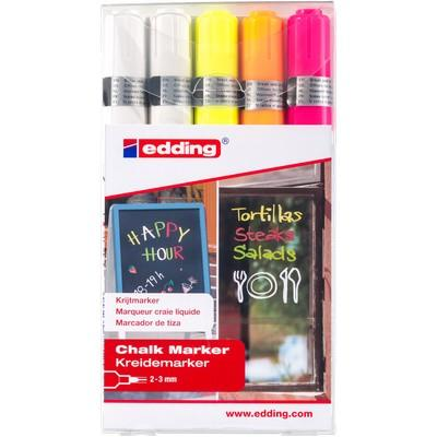 Chalk Markers Edding Pen Style Assorted Fluorescent Colours Pack 5