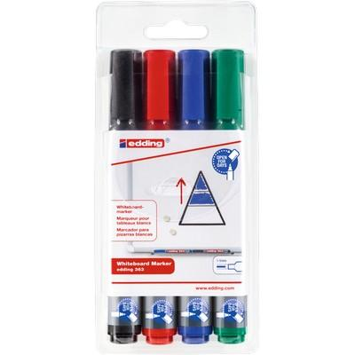 Markers, Drywipe Chisel Tip, Asstd Colours, Bx4
