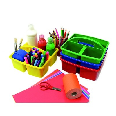 Stackable Desk Top Storage Caddies Primary Colours Pack 4