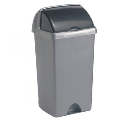 Addis Rolltop Household Bin, Metallic, 50 Litre