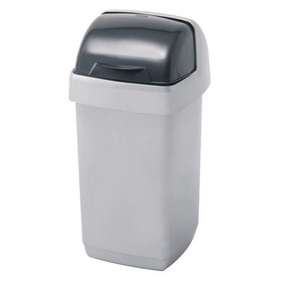 Addis Roll Top Bin Silver Each 10Ltr Roll Top