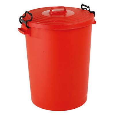 Dustbin With Lid Lightweight Red Each  90L
