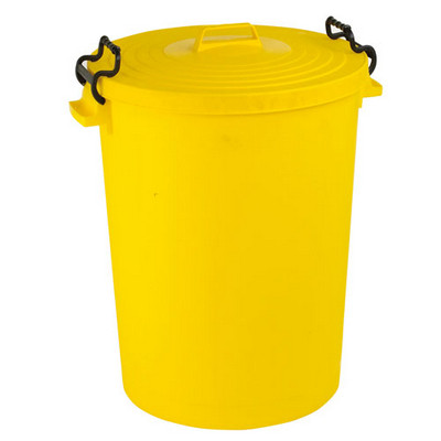 Dustbin With Lid Lightweight Yellow Each 90L