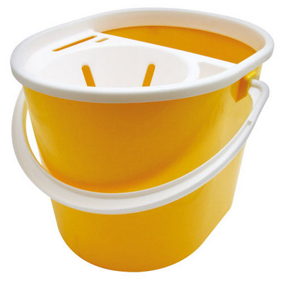 Bucket 15L Plastic Yellow plus Strainer Each