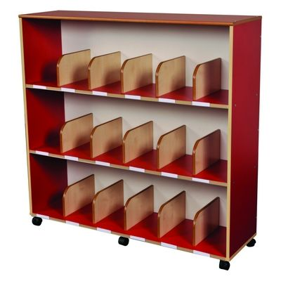 Childrens Large Bookcase In Maple/Red W1170 X D350 X H1130Mm