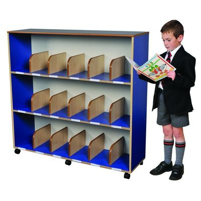 Children'S Large Bookcase In Maple/Blue W1170 X D350 X H1130Mm