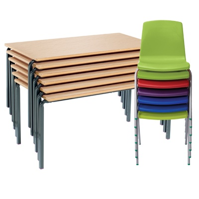 Set Of 15 Tables And 30 Chairs Ages 6-8 Years (Crushed Bent Tables & Np Chairs)