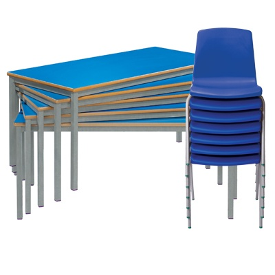 Set Of 4 Tables And 8 Chairs Ages 8-11 Years (Fully Welded Tables & Np Chairs)