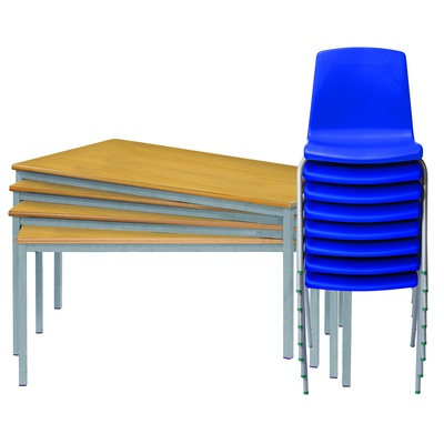 Set Of 4 Tables And 8 Chairs Ages 11-14 Years (Fully Welded Tables & Np Chairs)