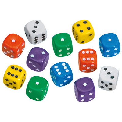 Coloured Dot Dice 12mm