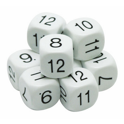 Dice, Number 7 to 12, 22mm Pack 10