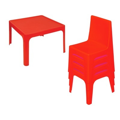 Table & 4 Chair Set Red