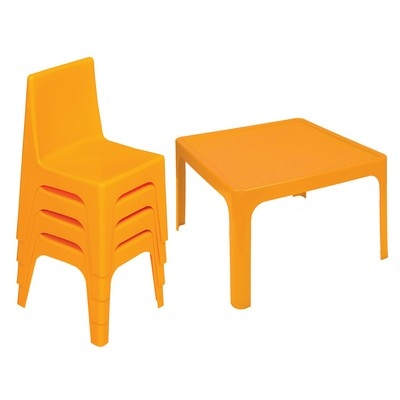 Table & 4 Chair Set Yellow