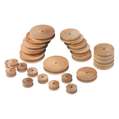 Assorted Wooden Pulleys Natural Pack 30