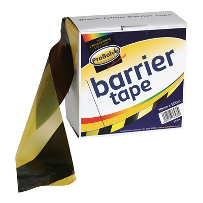 Safety Tape 500mx75mm Non-Adhesive Black/Yellow Each