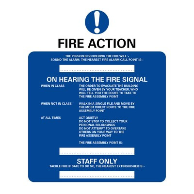 Fire Action' School Use Sign Self Adhesive Each