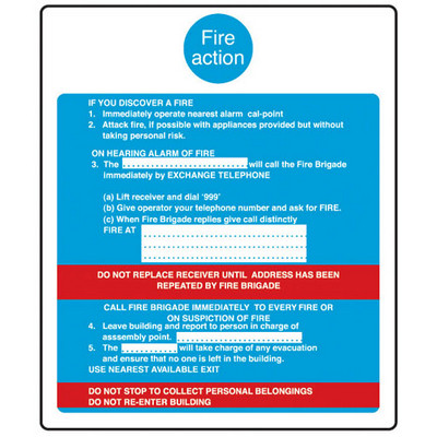 Fire Action' Sign Rigid Each
