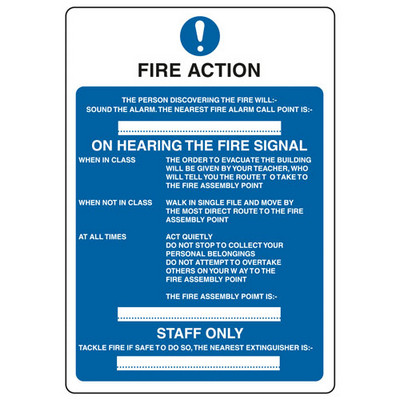 Fire Action' School Use Sign Rigid Each