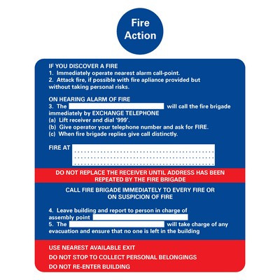 Fire Action' Sign Self Adhesive Each