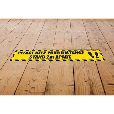 Yellow 700x100mm Keep Your Distance Floor Sign Pack 10