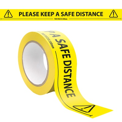Lane Marking Tape 48mm x 33m Printed  Please keep a safe distance of 2 metres