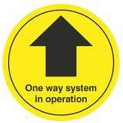 Floor Sticker 'One Way System In Operation' Arrow Black/Yellow 300mm Diameter