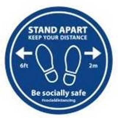 Floor Sticker 'Stand Apart Keep Your Distance' Blue/White 300mm Diameter