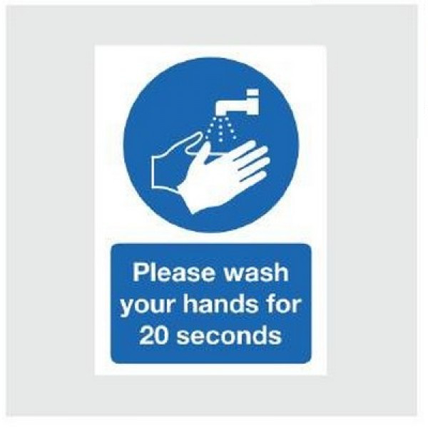 Wall Sign 'Please Wash Your Hands For 20 Seconds' Blue/White A5
