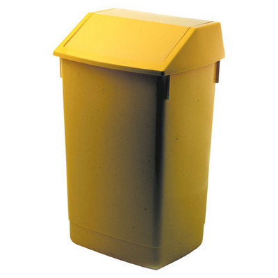 Addis Flip Top Litter Bin Yellow Each 60ltr