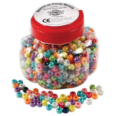 Lustre Pony Beads Assorted Tub 1000