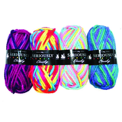 Bright Coloured Chunky Wool Assorted Pack 4