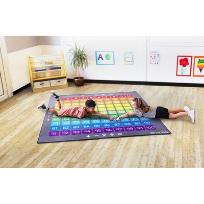 100 Square Counting Grid Carpet Blue/Yellow Each